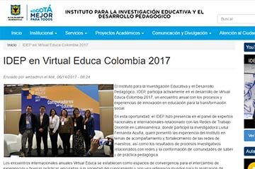 IDEP en Virtual Educa Colombia 2017