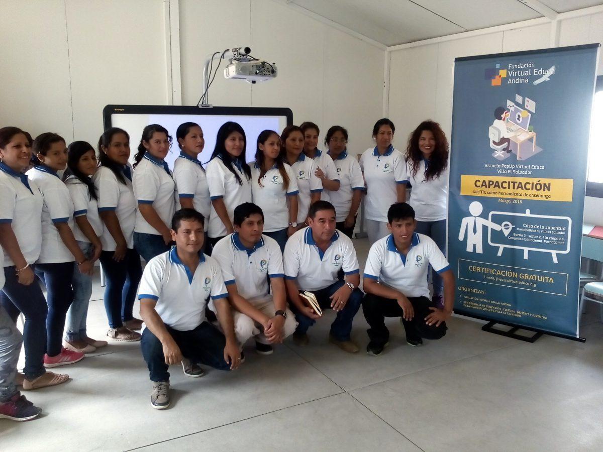 Capacitación docente en la Escuela Popup Virtual Educa de Villa El Salvador